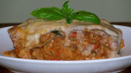 lasagna with basil