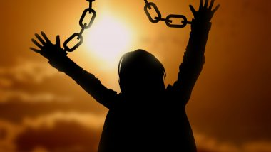 Freedom, silhouette of woman with broken chain on hands at sunset sky (Beauty and Fashion) freedom,silhouette,woman,backlighting,sky